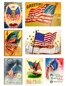 Vintage 4th of July . . . Americn Flag Digital Collage Sheet 3