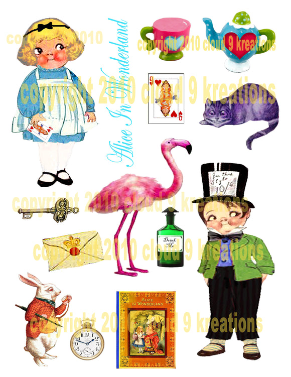 Alice In Wonderland Dolly Dingle Digital Collage Sheet