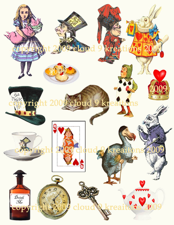 Alice In Wonderland Bits & Pieces Digital Collage Sheet 1