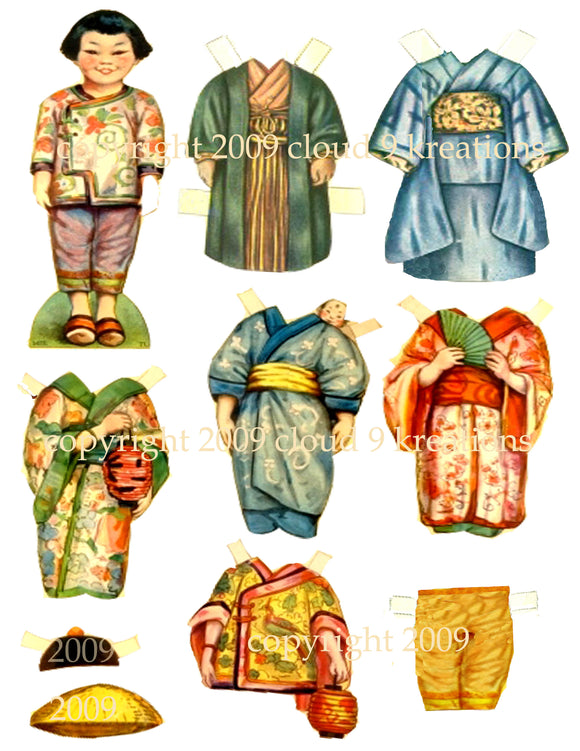 Asian Paper Doll Digital Collage Sheet