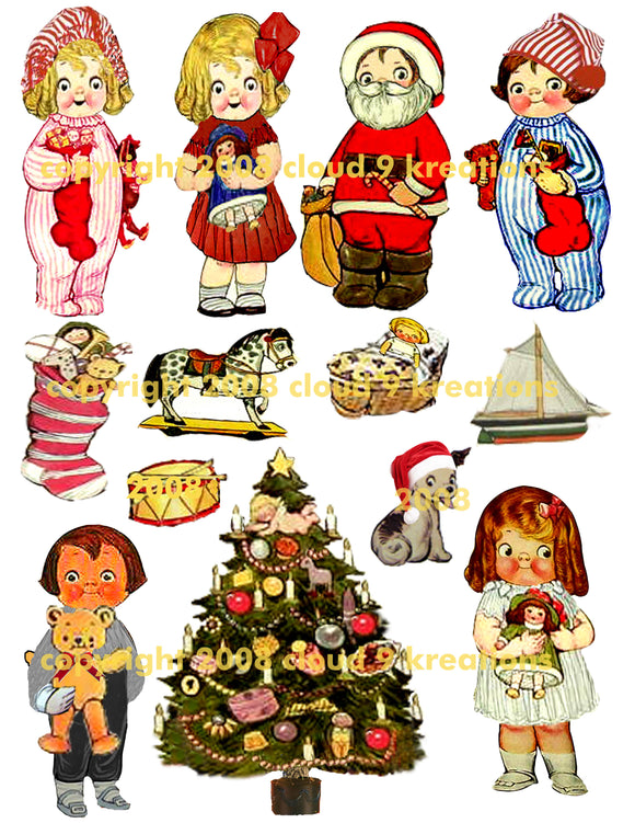 Christmas Dolly Dingle Digital Collage Sheet