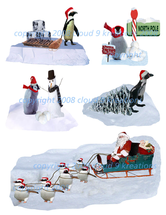 Christmas Penguins Digital Collage Sheet