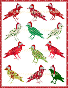 Birds - Christmas Crows Digital Collage Sheet