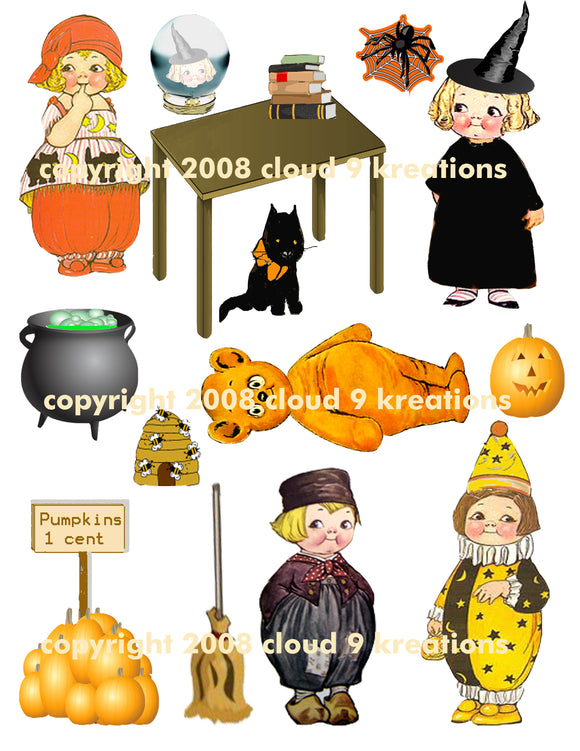 Halloween Dolly Dingle Digital Collage Sheet