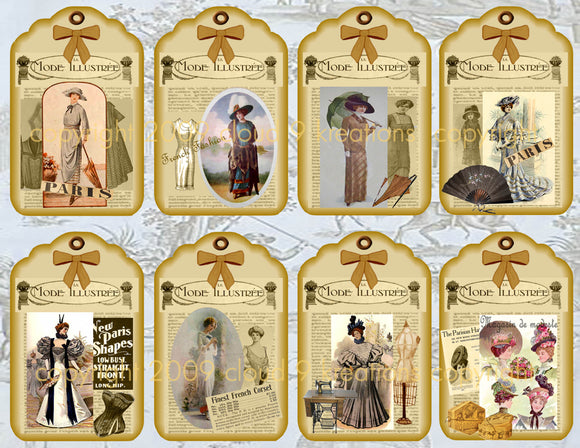 French Fashion Gift/Hang Tags Digital Collage Sheet