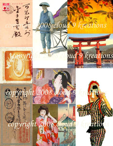 Japanese Digital Collage Sheet 2