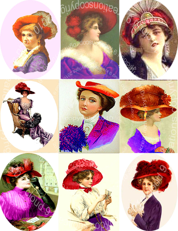 Red Hat Ladies Digital Collage Sheet