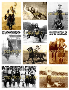 Rodeo Cowgirls Digital Collage Sheet