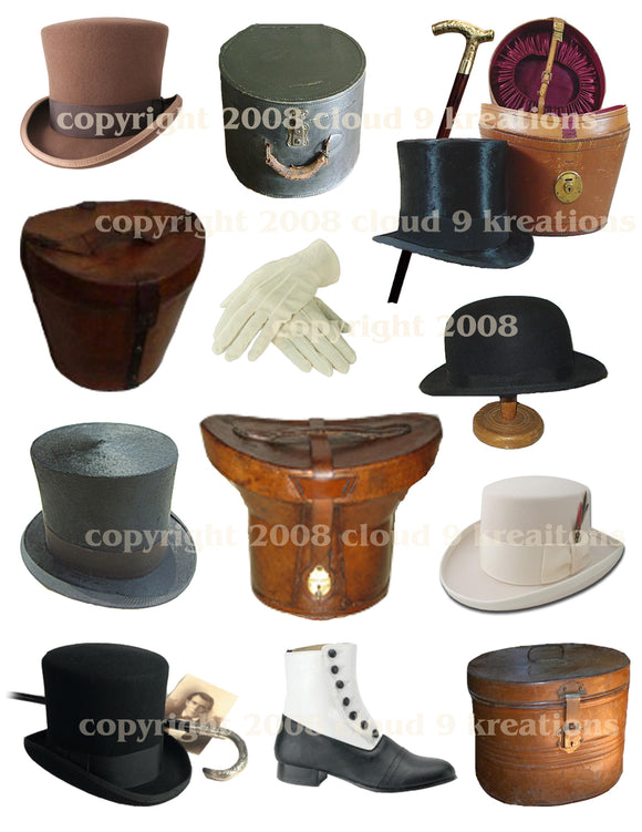 Victorian Men's Hats & Accessories Digital Collage Sheet