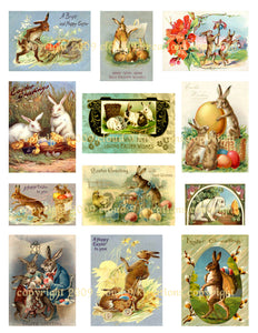 Easter Bunny Vintage Cards Digital Collage Sheet 2