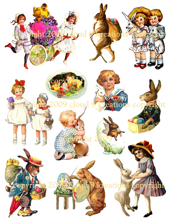 Vintage Easter Bits & Pieces Digital Collage Sheet