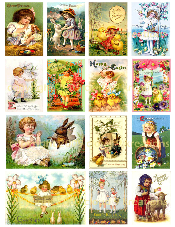 Girls Vintage Easter Cards Digital Collage Sheet
