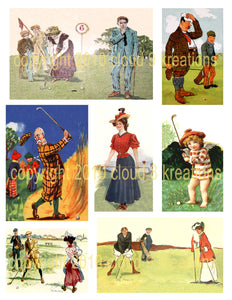 Vintage Golf Digital Collage Sheet
