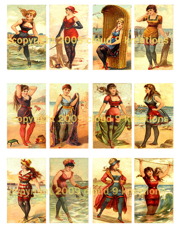 Vintage Bathing Beauties Digital Collage Sheet