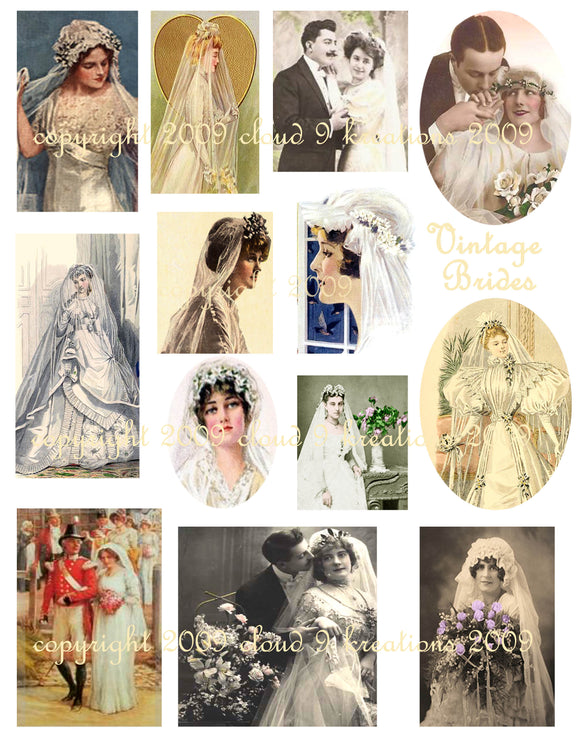 Vintage Brides Digital Collage Sheet