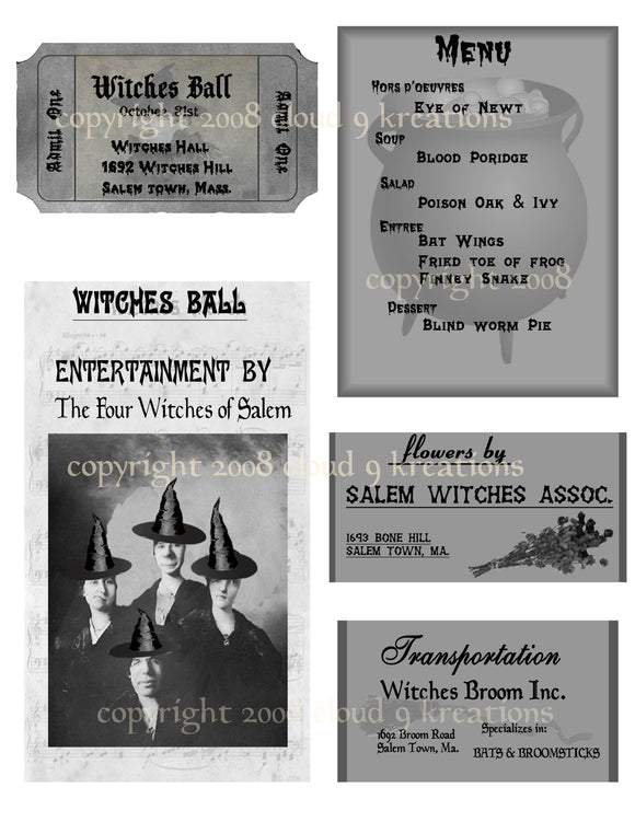 Halloween Witches Ball Digital Collage Sheet