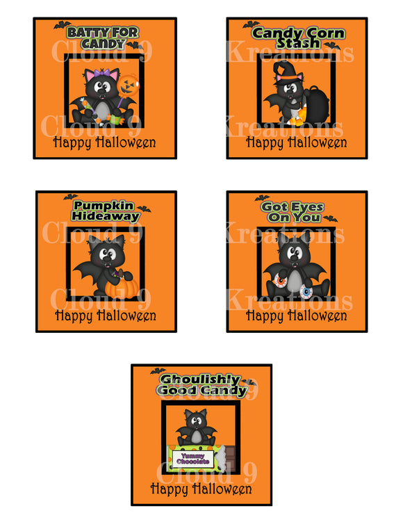 Batty's Halloween Labels Digital Collage Sheet