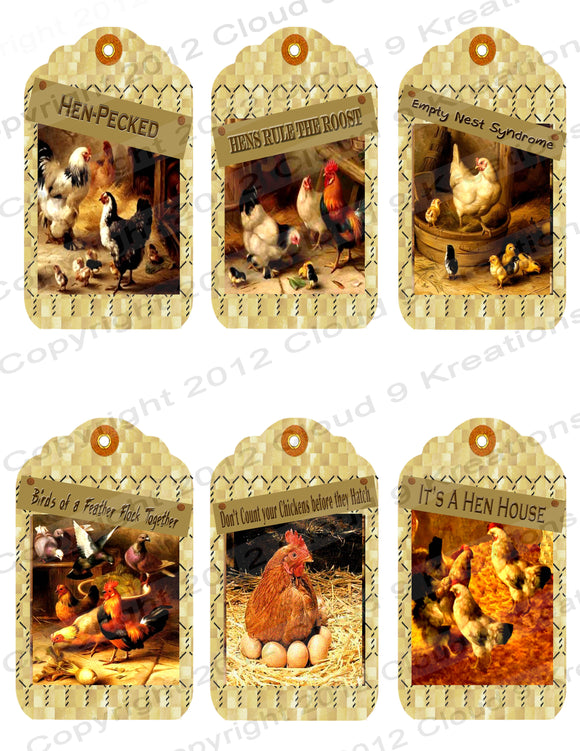 Humorous Chicken Tags Digital Collage Sheet