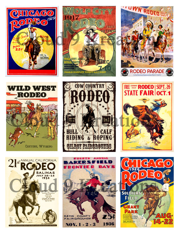 Vintage Rodeo Posters Digital Collage Sheet
