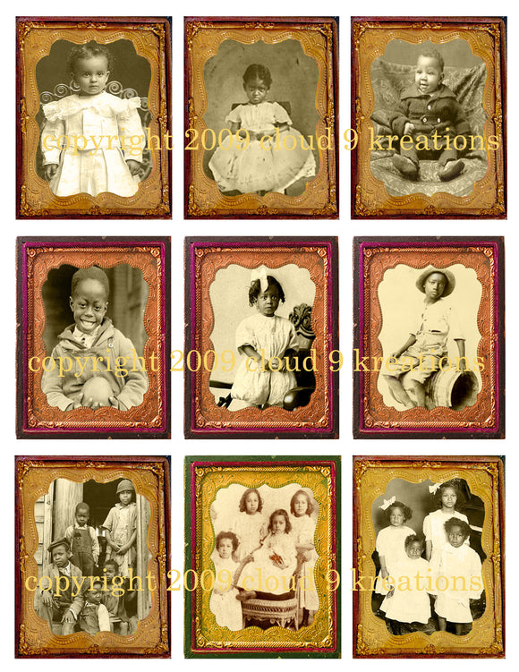 Vintage African American Children Digital Collage Sheet
