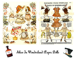 2 Alice In wonderland Paper Dolls Digital Collage Sheet