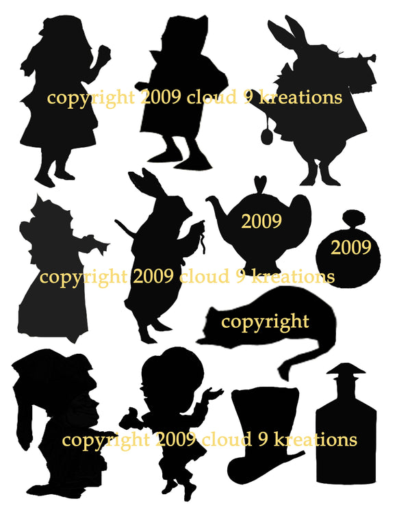 Alice In Wonderland Silhouettes Digital Collage Sheet