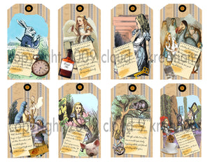 Alice In Wonderland Tags Digital Collage Sheet