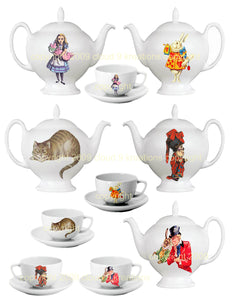 Alice In Wonderland Tea Set Digital Collage Sheet