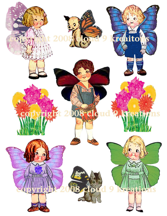 Dolly Dingle Butterflies Digital Collage Sheet