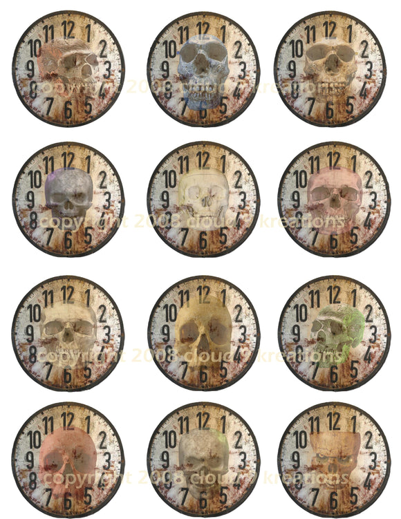Altered Clocks With Skulls Digital Collage Sheet