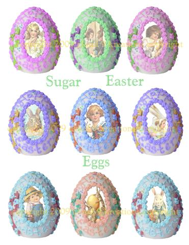 Sugar Easter Eggs Digital Collage Sheet