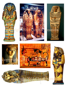 Ancient Egyptian Sarcophagus Digital Collage Sheet