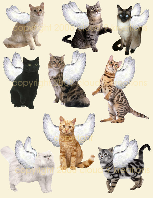 Angel Kitties Digital Collage Sheet