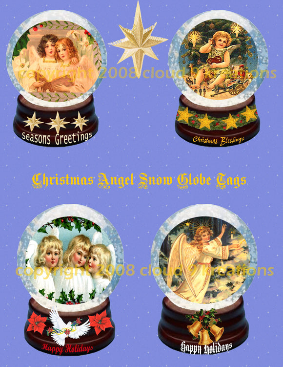 Snow Globe Angels Digital Collage Sheet
