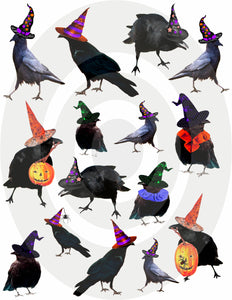 Halloween Crows Digital Collage Sheet
