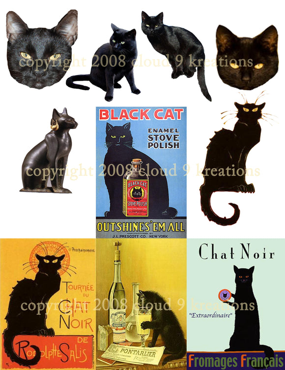 Black Cats - Chat Noir Digital Collage Sheets