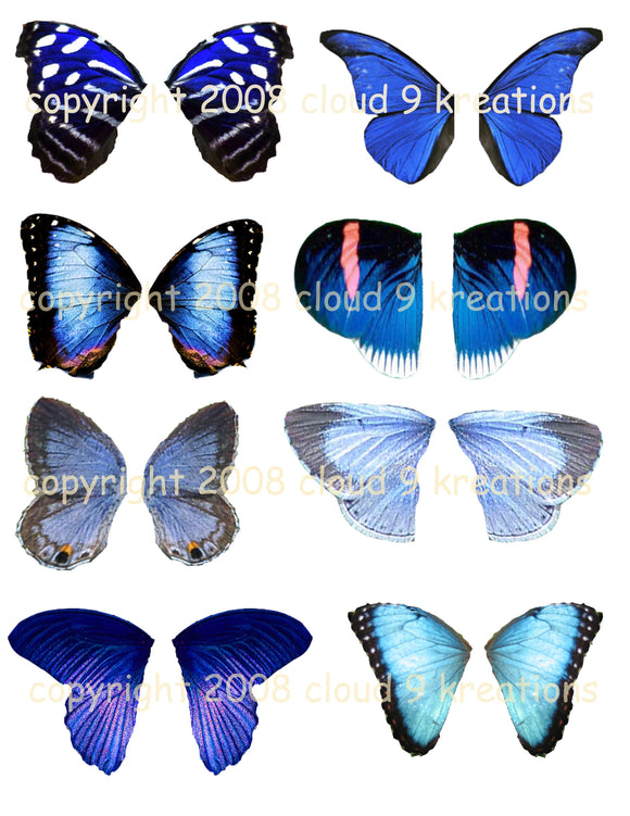 Blue Butterfly Wings Digital Collage Sheet