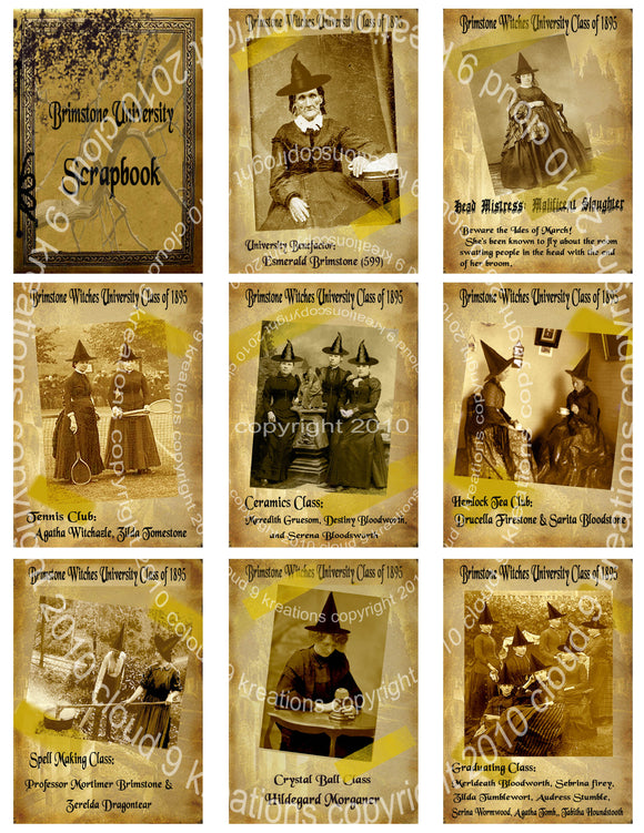 Brimstone Witch University Scrapbook Digital Collage Sheet