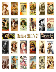 "Buffalo Bill 1""x2"" Digital Collage Sheet"