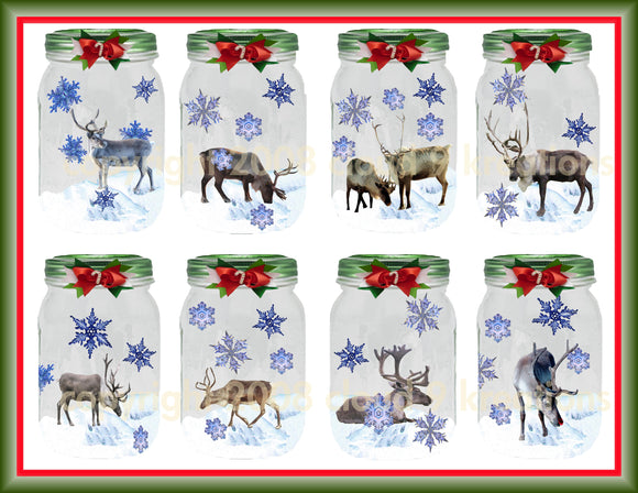 Captured Reindeer Digital Collage Sheet