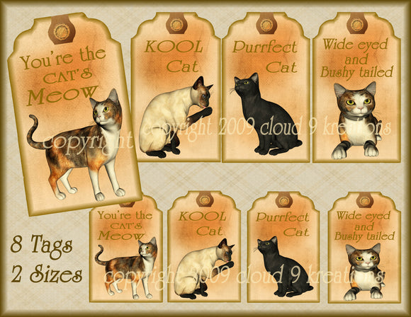 Cat Tags Digital Collage Sheet