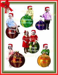 Christmas Ornament Kids Digital Collage Sheet