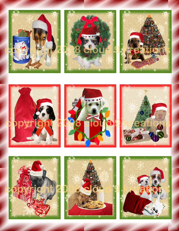 Puppies For Christmas Digital Collage Sheet