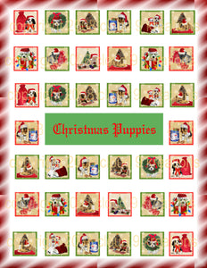 "1""x1"" Christmas Puppies Inchies/Squares Digital Collage Sheet"