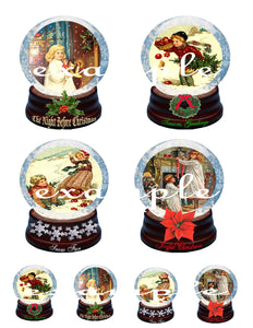 Christmas Snow Globes Digital Collage Sheet
