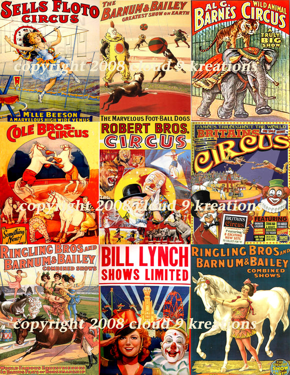 Vintage Circus Posters Digital Collage Sheet