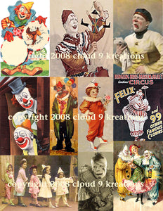 Clowns Digital Collage Shees
