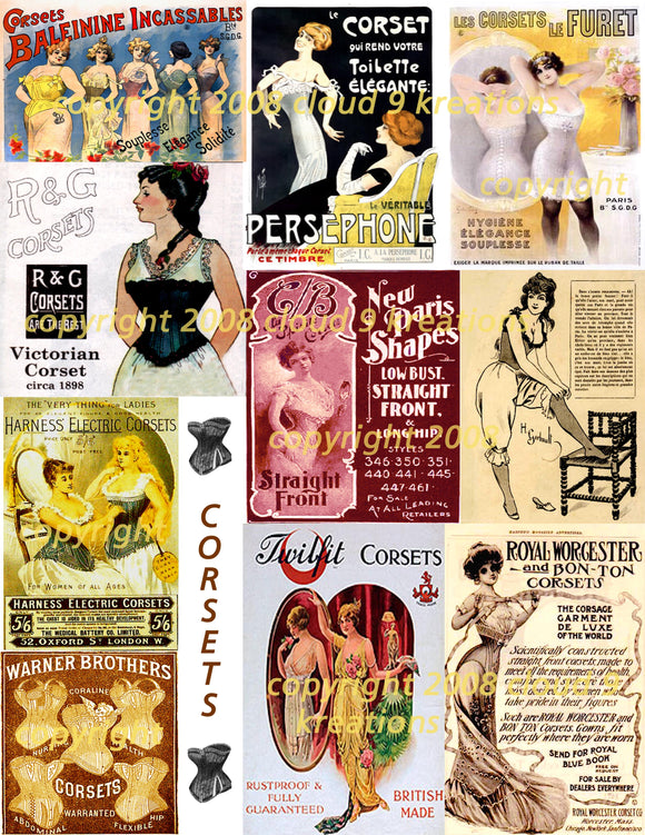 Victorian Corset Ads Digital Collage Sheet