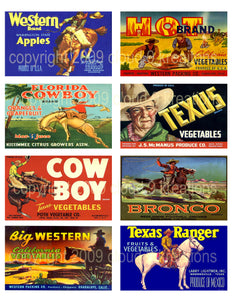 Cowboy Food Labels Digital Collage Sheet