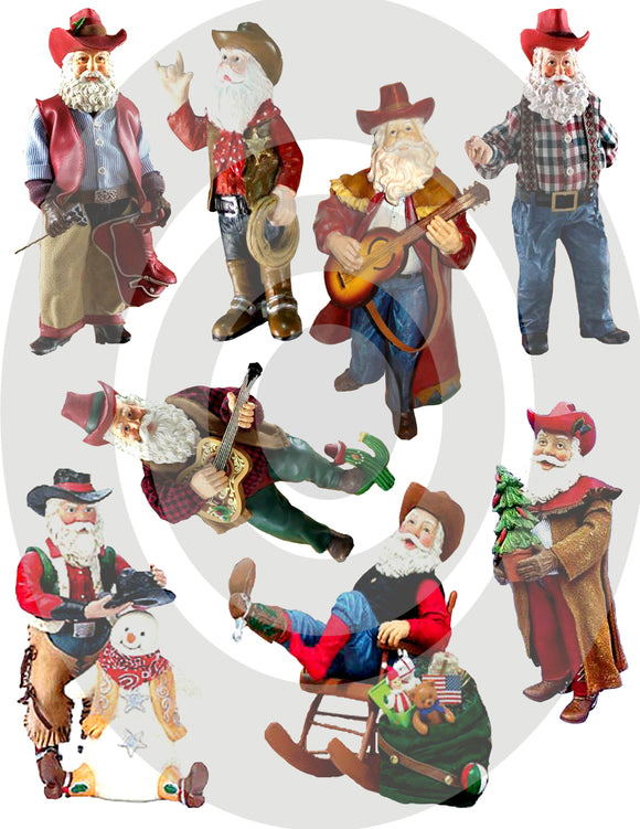 Cowboy Santas Digital Collage Sheet